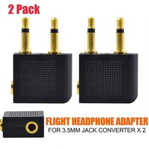 ADAPTATEUR AUDIO-VIDÉO  2 x Adaptateur Avion Vol pour casque 3.5mm Jack So