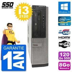 UNITÉ CENTRALE  PC Dell OptiPlex 390 DT i3-2120 RAM 8Go SSD 120Go