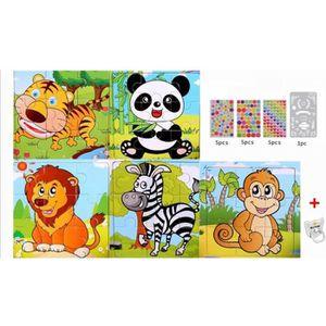 PUZZLE 5pcs  Puzzle Enfant en Bois aux Animaux,Parfait Ca