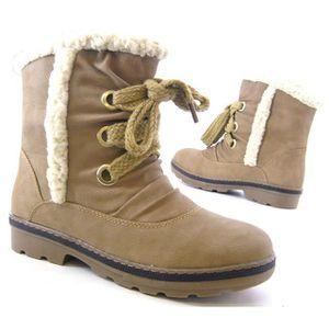 Robuste femmes hiver bottes doublé fausse fourrure femmes Boots camel 36 K7Cui5QTY