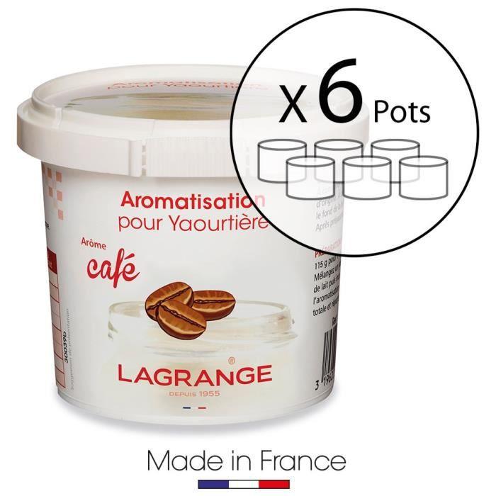 LAGRANGE Lot de 6 pots d'aromatisation pour yaourts Café
