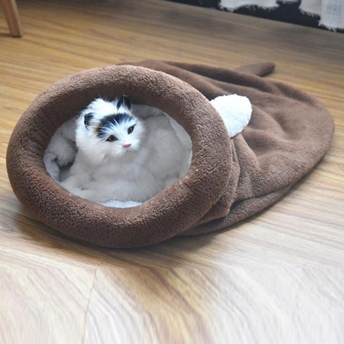 Chaton Lit Pour Chat Pet Puppy Chaud Cave Douce Chien Sac De Couchage Tapis Fleece Pad @fournitures Animaux5387