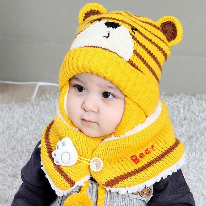 57f31a33f2df Bébé Garçon Fille Boule De Cheveux Intra-bonnet Chapeau Enfant Imprimer Tricot  Chapeaux + Scaf YE  dr525