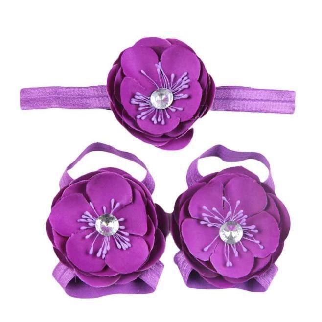 Frankmall®3Pcs bébé pieds nus dentelle Chaussures sandales fleurs chaussures ensemble BK#NYZ88880511