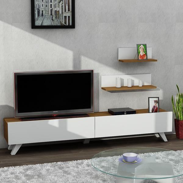 Amerika meuble tv blance noyer 180x30x33cm achat vente meuble tv amerika meuble tv blance - Meuble tv black friday ...