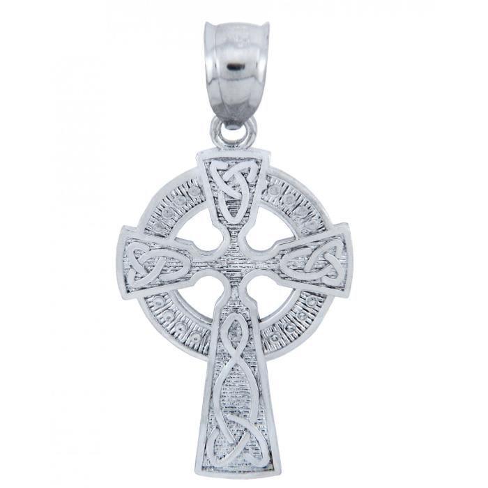Collier PendentifArgent 925/1000 Claddagh Irish CroixCollier Pendentif Celtique (vient avec une Chaîne de 45 cm)