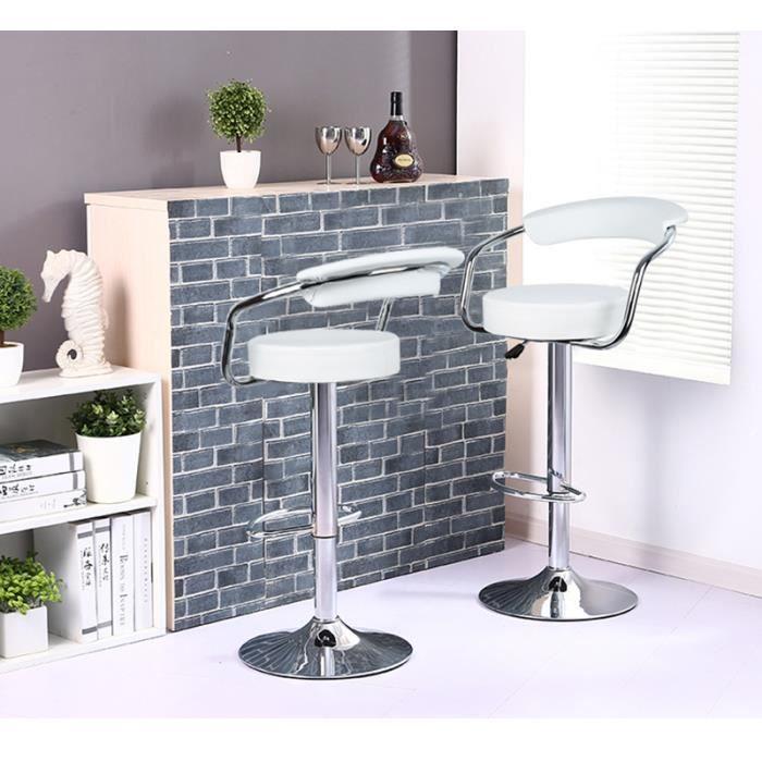 2 pcs chaise de bar pu blanc pivotante ergonomique r glable achat vente tabouret de bar. Black Bedroom Furniture Sets. Home Design Ideas