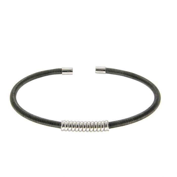 Bracelet Jonc Argent 925/1000 Noir