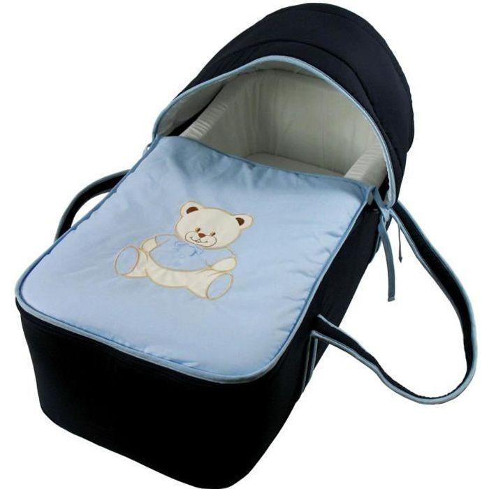 COUFFIN ET SUPPORT Couffin pour bébé bleu nuit - Motif Nounours