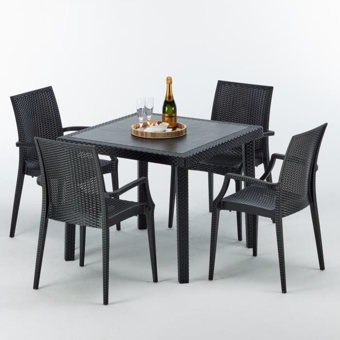 Anthracite Resine Table Rotin Exterieur N Bar Carrée Noir Modèle Arm Poly Et Cafè Chaises 4 bistrot 90x90 Bistrot USpVzM