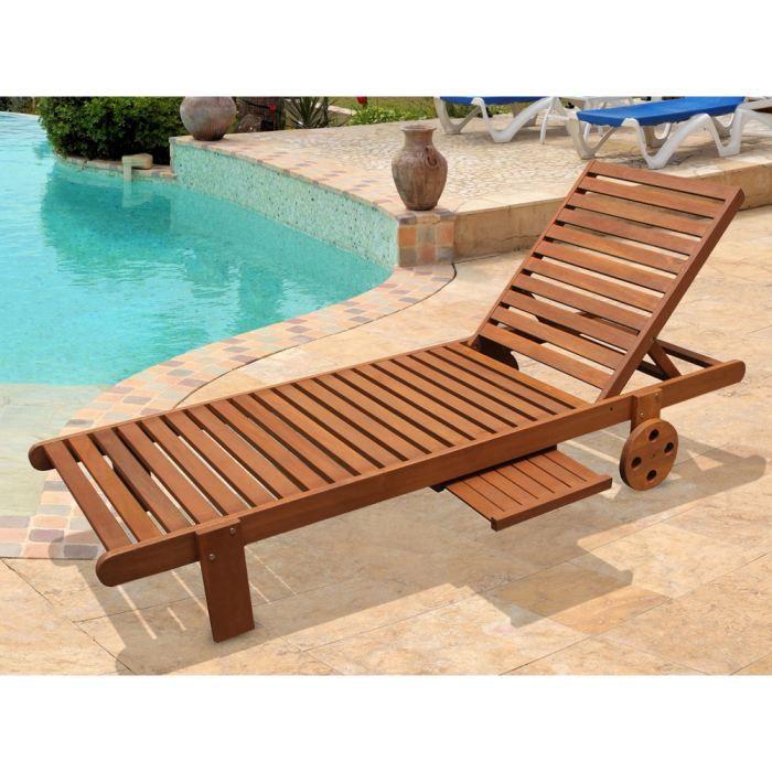 bain de soleil en bois exotique avec roulette achat. Black Bedroom Furniture Sets. Home Design Ideas