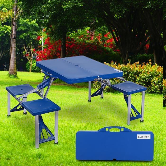 Table pliante plein air camp valise pique nique table 4 si ges bleu en plastique achat vente - Table pliante valise ...