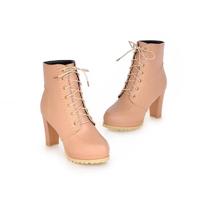bottes courtes-Pure Color dentelle femmes Toe j...