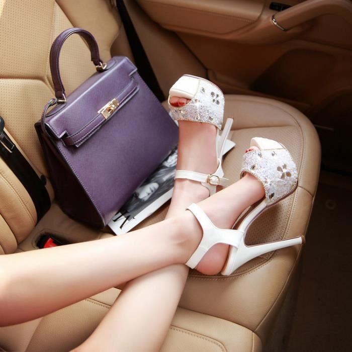 Nouvelles cheville blanche bracelet strass minces sandales à talons hauts EHGtd6e