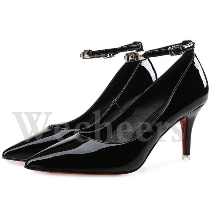 chaussures à talons hauts pointu cuir escarpin boucle de ceinture talon fin hauteur élevé
