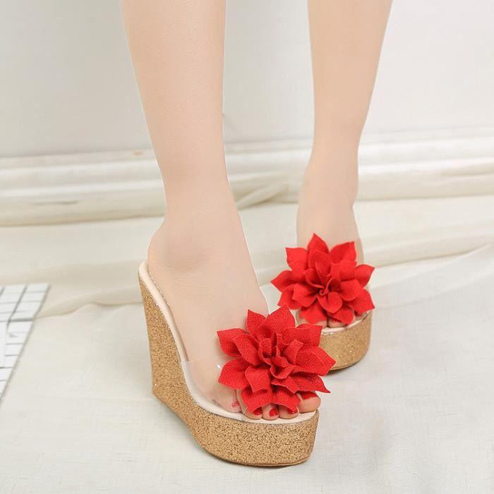 2017 New Style chaussure de fleur douce cale chaussures talon peep toe pantoufles pour femme