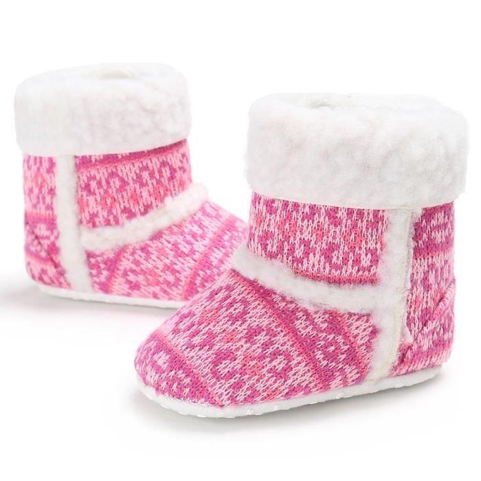 BOTTE Bébé Toddler infantile fille bottes de neige doux semelle prébalker crèche chaussures@Rose