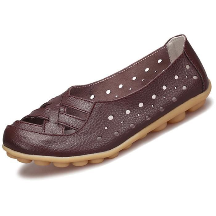 Cuir Mocassins Flats Sandales Mules LX7V5 Taille-39