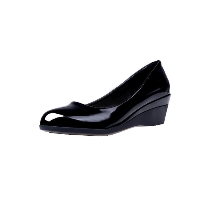 pcd81207095bk Wedges Mode noir Casual Mocassins Simples Bout Rond Femmes fPawqq