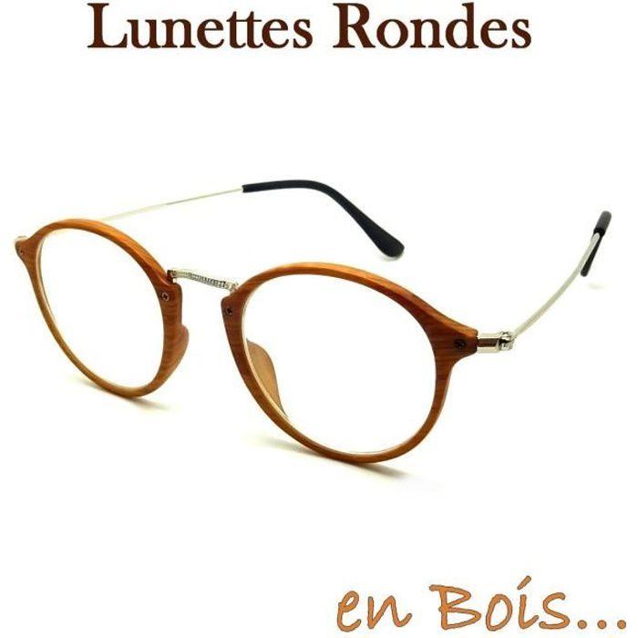 LUNETTES VUE UNISEXE SANS CORRECTION FINES RONDES BOIS BAMBOU ROUND FLECK  VINTAGE RÉTRO HOMME FEMME 480dd3d01dc5