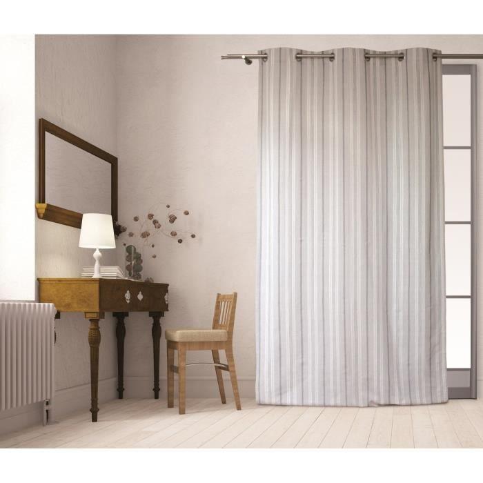 SOLEIL D\'OCRE Rideau à œillets Sandrine 100% coton 140x240 cm gris ...