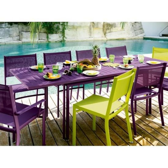Table jardin rectangulaire FERMOB COSTA bleue - Achat ...