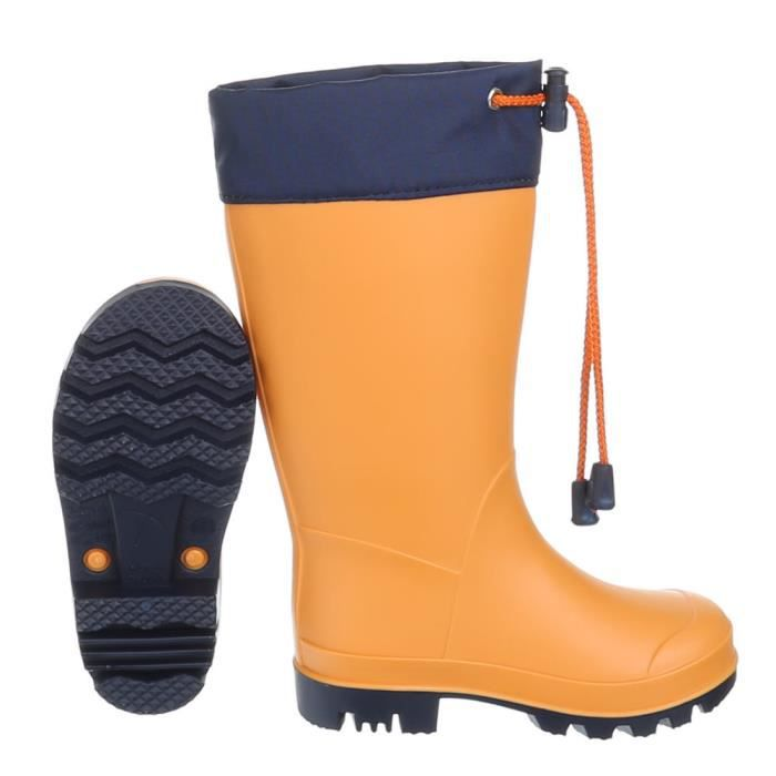 jeune 31 chaussures enfants caoutchouc pluie botte pour fille Orange de Chaussures 1vXTInX