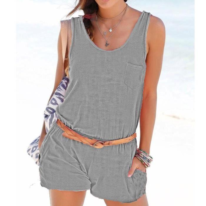Femmes Summer Jumpsuit Barboteuses gris Mini Vacances Salopette De Ladies Pocket Casual Beach 418rn40aq