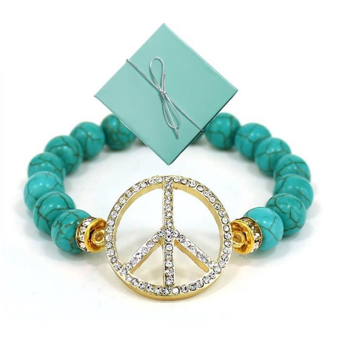 Womens Gold-tone Peace Sign With & Bead Stretch Bracelet - TUY5M