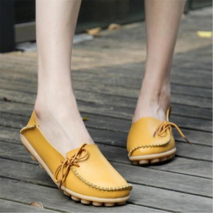 Ballerine Femmes Printemps Été Mode Cuir Chaussures BBZH-XZ057Jaune36 HviLtH9b