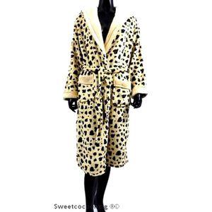 léopard femme en pilou de chambre MA chaud Robe f6gY7byIvm