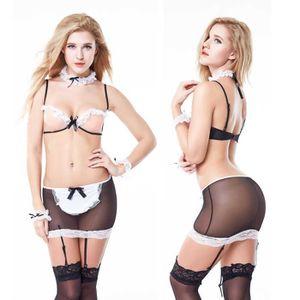 ENSEMBLE DE LINGERIE Sexy lingerie dentelle transparent costume 07