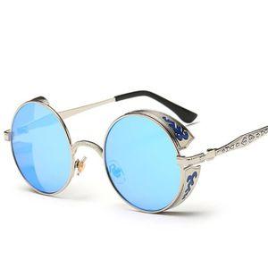 c13f68c284084 Euroaméricain Steampunk Lunettes de soleil Rond Métal Sculpté Fashion  Accessoire UV400 Cadre Argent+Verre Bleu