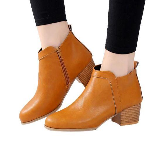 7bdff266d4b319 Cheville Pageare5971 Botte Bas Chaussures Épais Courte Mode Bottines Bottes  Femme Talon Vintage nPawq5xIYp ...