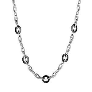 Collier acier maille gros anneaux ronds PVD noir 4