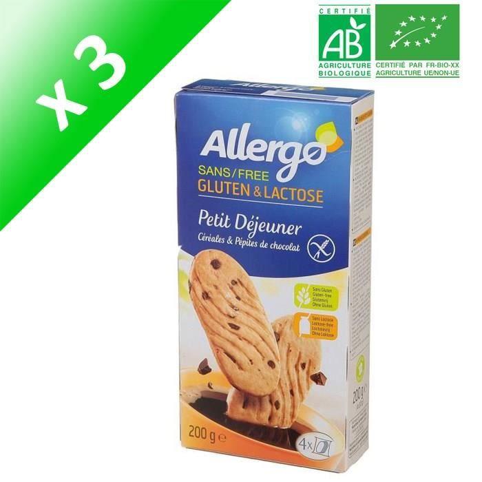 ALLERGO Biscuits Petit déjeuner céréales et pépites de chocolat - 200 g x3