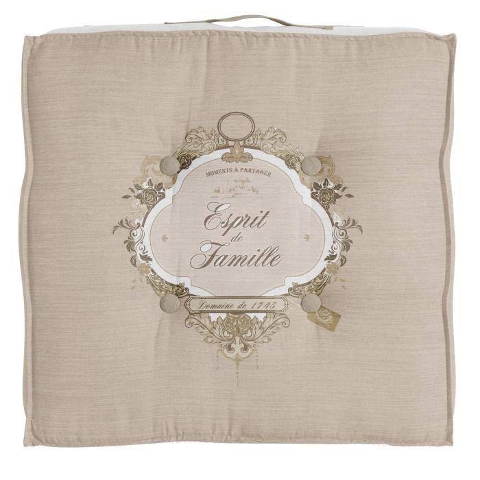 SOLEIL D' OCRE Coussin tapissier Esprit de Famille 100% coton - 40 x 40 cm - Naturel