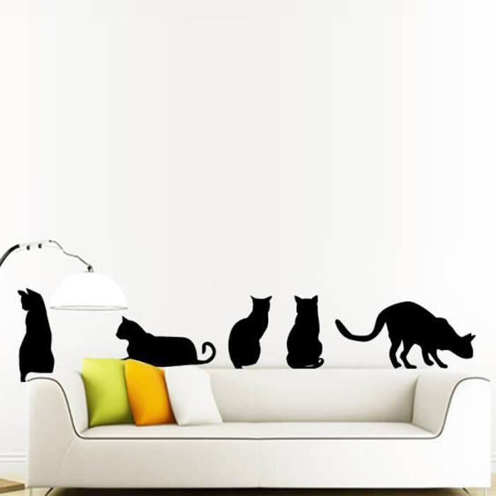 Stickers muraux chat salon chambre coucher d coration - Salon de chat gratuit ...