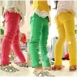Filles coréennes septième trou couleurs de bonbons crayon de pantalon, vert, 2 ans