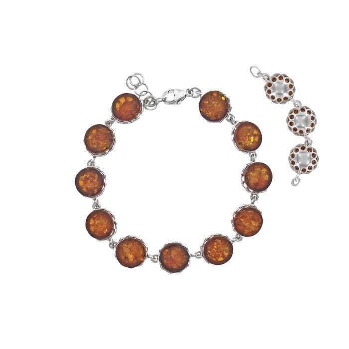 Jouailla - Bracelet argent 925-1000e rhodié et ambre - Cognac