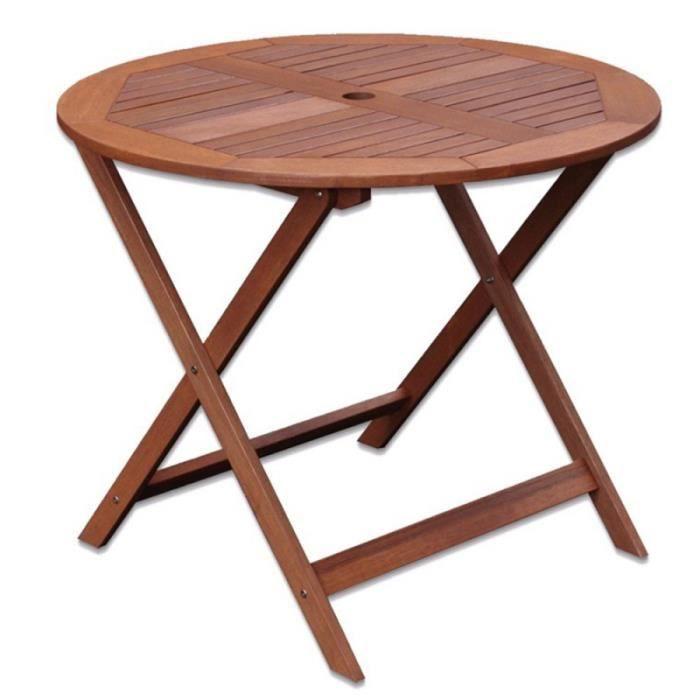 Table de jardin ronde 90cm en bois exotique KORTA - L 90 x l 90 x H 76
