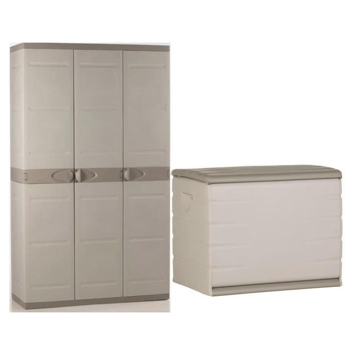Plastiken coffre en r sine 260l vide et armoire de for Armoire en pvc exterieur
