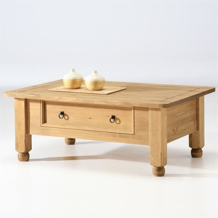 table basse en pin style mexicain - achat / vente table basse