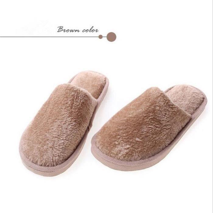 chaussure homme Accueil Pantoufles Pantoufles en coton chaud d'hiver décontractée chaussure Haut qualité Confortable chaussons 2017