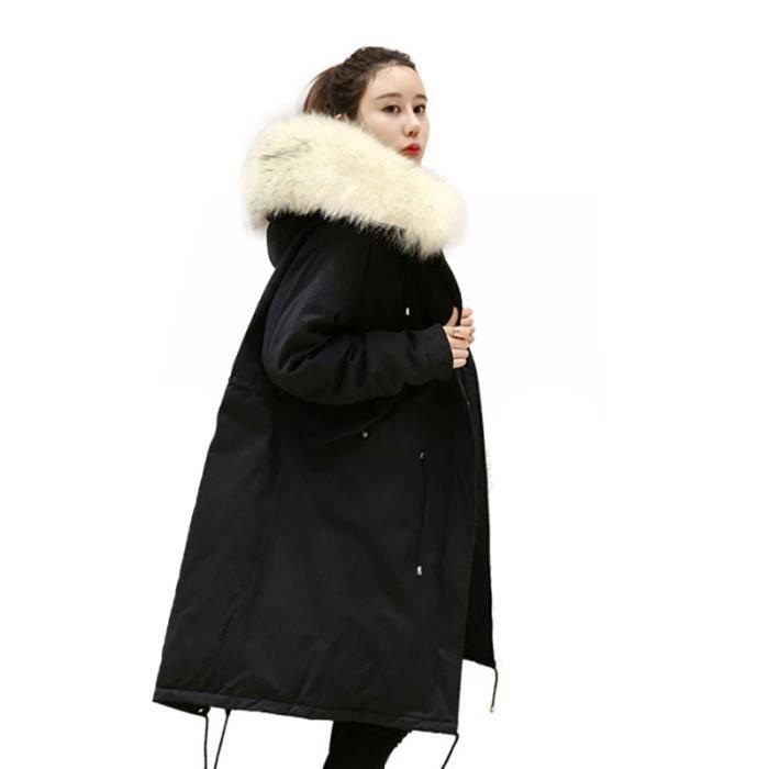 a5b9959e386 doudoune longue femme noir col en fourrure de epaississant et baggy Vêtement