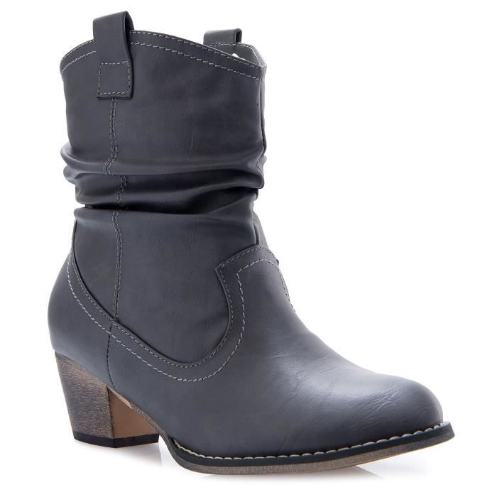 Western Cowgirl Vintage Mid Calf Slouchy Almond Toe Pointy Ankle Bootie Boots AJR8G Taille-37