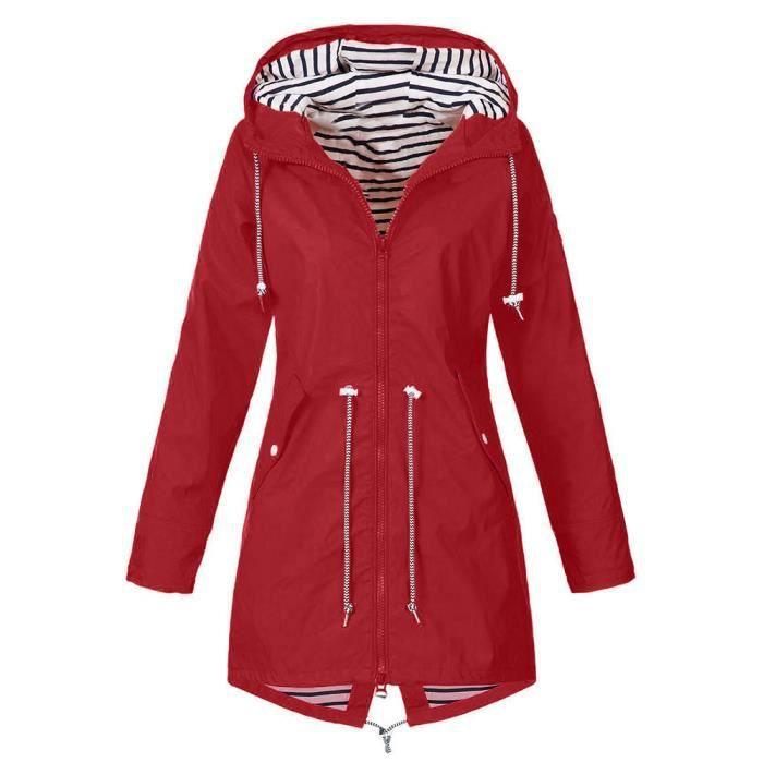 Veste Solide Pluie Imperméable Outdoor Femme Vestes Hooded Raincoat qEqwdz6r7
