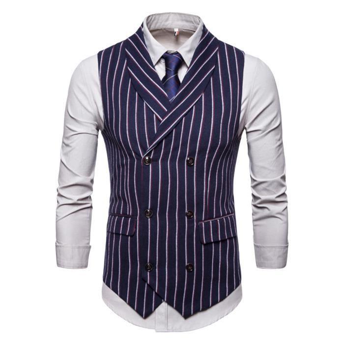 539be69ea33d1 Gilet costume homme Col châle Vertical stripes Coupe slim Sans manche  Double boutons de vêtement