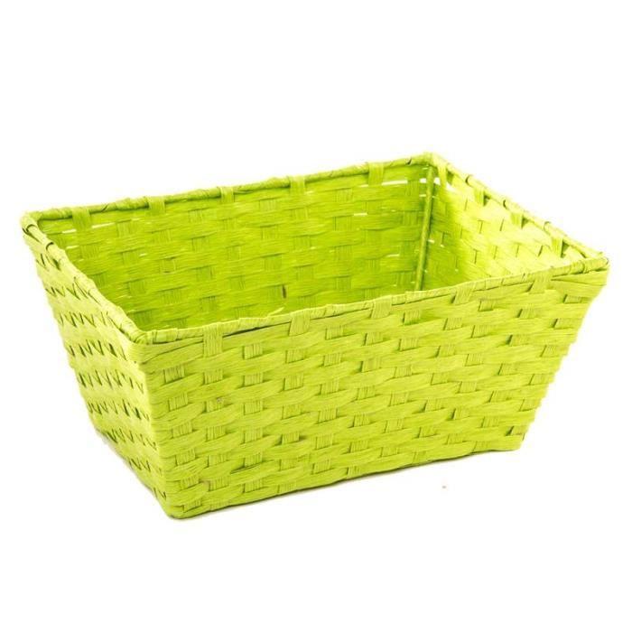 paris prix panier rectangulaire en osier vert anis achat vente casier pour meuble osier. Black Bedroom Furniture Sets. Home Design Ideas