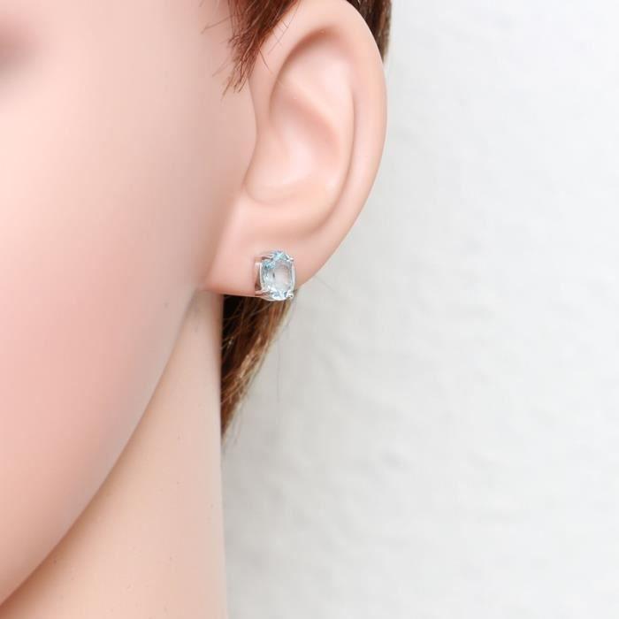 Boucles d oreilles Or 375 Topaze bleue traitee ref 44016 Bleu